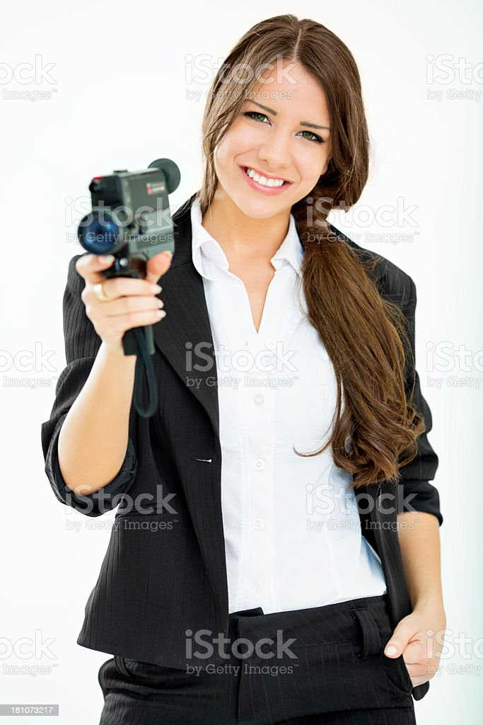 Young Woman with vintage film camera. royalty-free stock photo