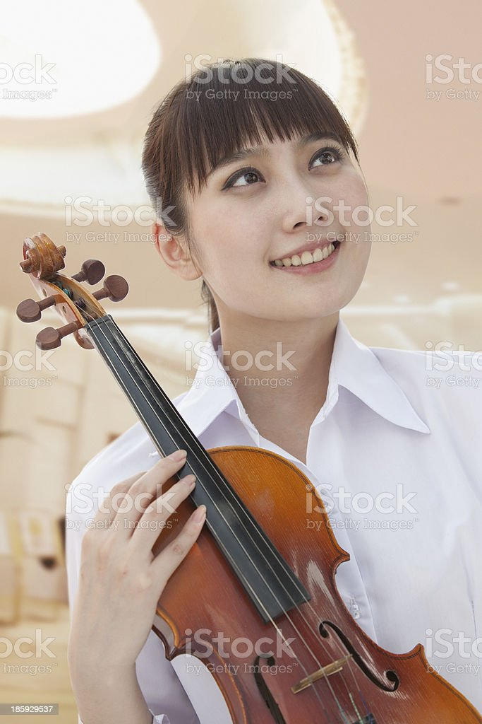 Young Woman With Violin royalty-free stock photo
