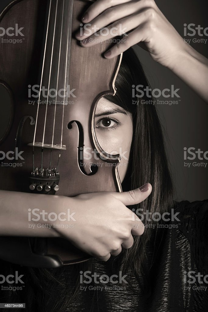 Young Woman with Violin stock photo