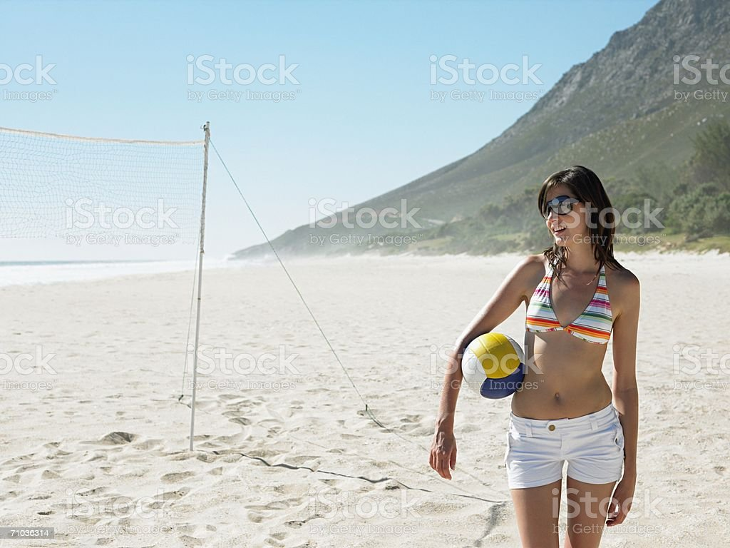 Young woman with volleyball royalty-free stock photo