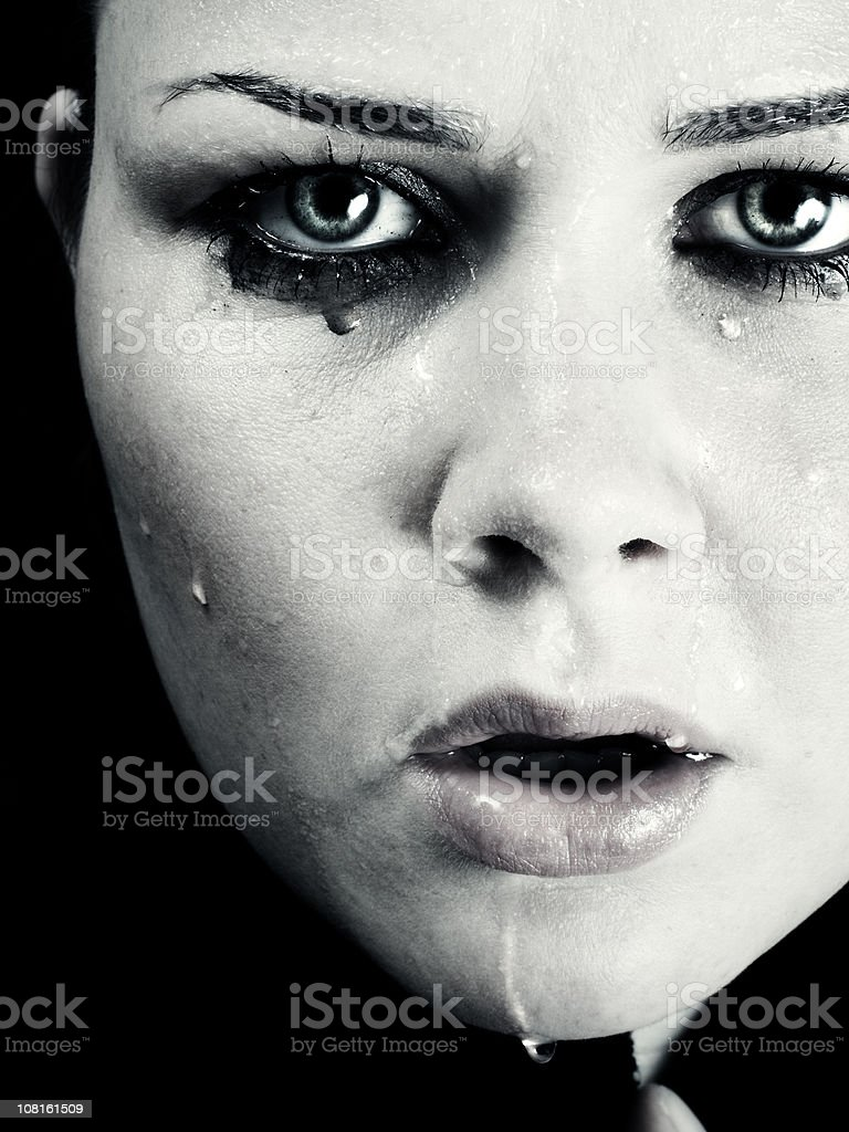 Young Woman with Water on Face royalty-free stock photo