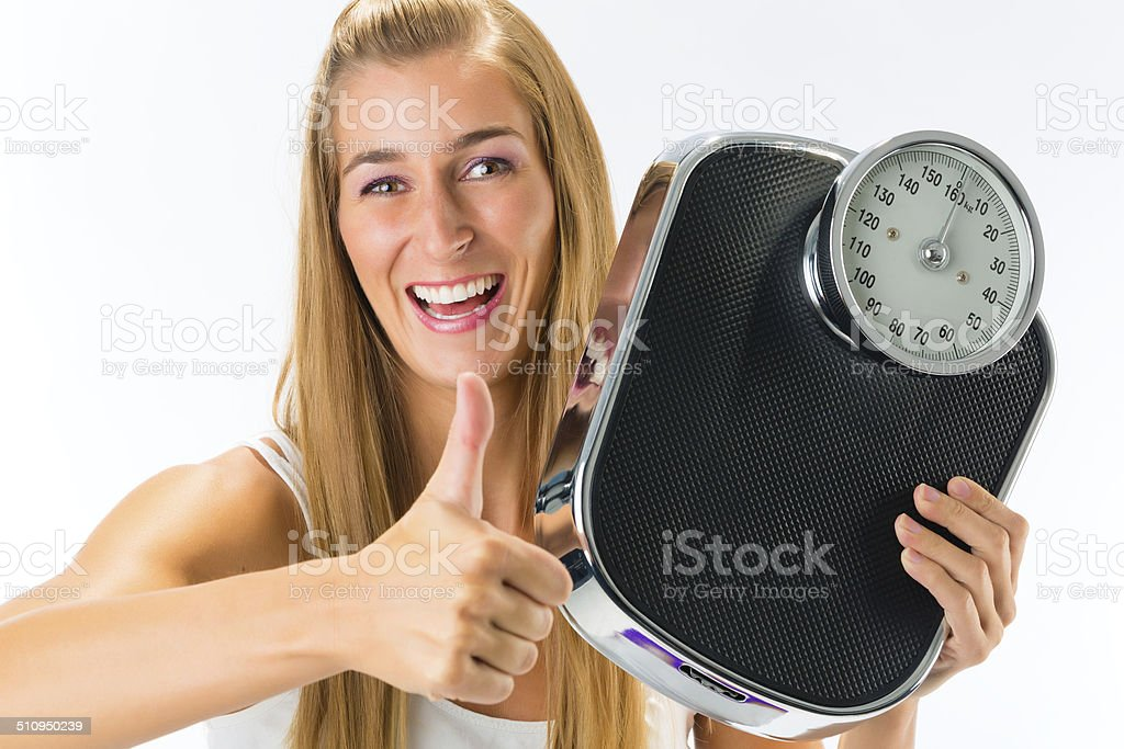 Young woman with weight scale stock photo