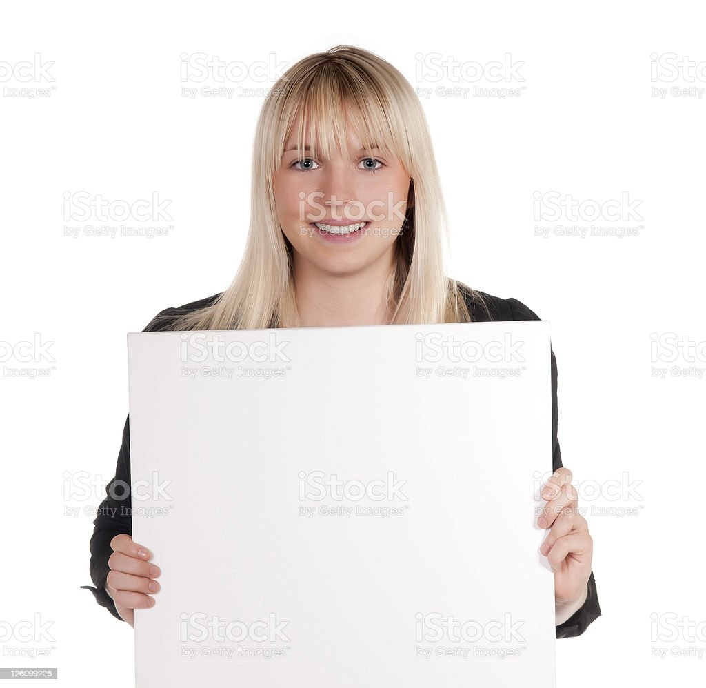 young woman with white billboard royalty-free stock photo