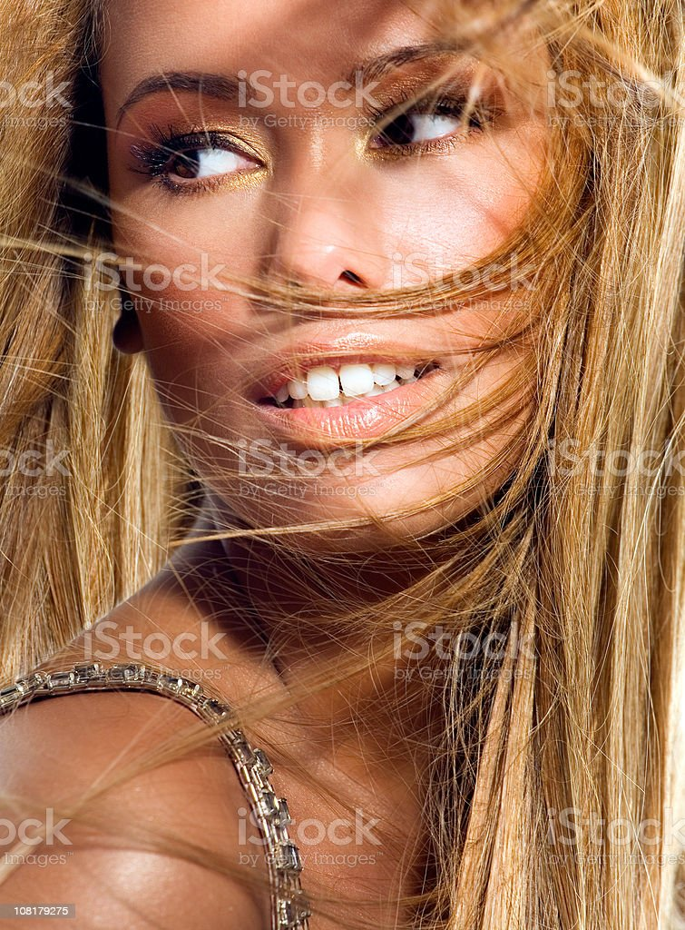 Young Woman With Wind Swept Hair royalty-free stock photo