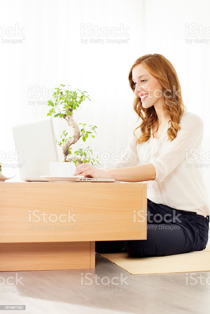 Young Woman Working at home. royalty-free stock photo