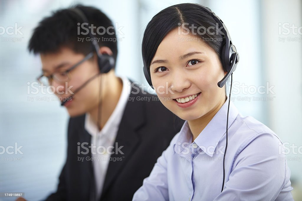 young woman working in the call center royalty-free stock photo