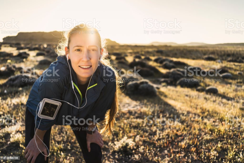 Young woman working out on a sunny day stock photo