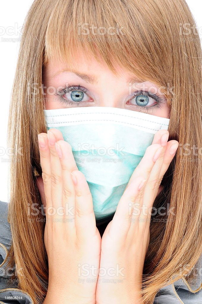 Young woman worried because of a virus epidemic royalty-free stock photo