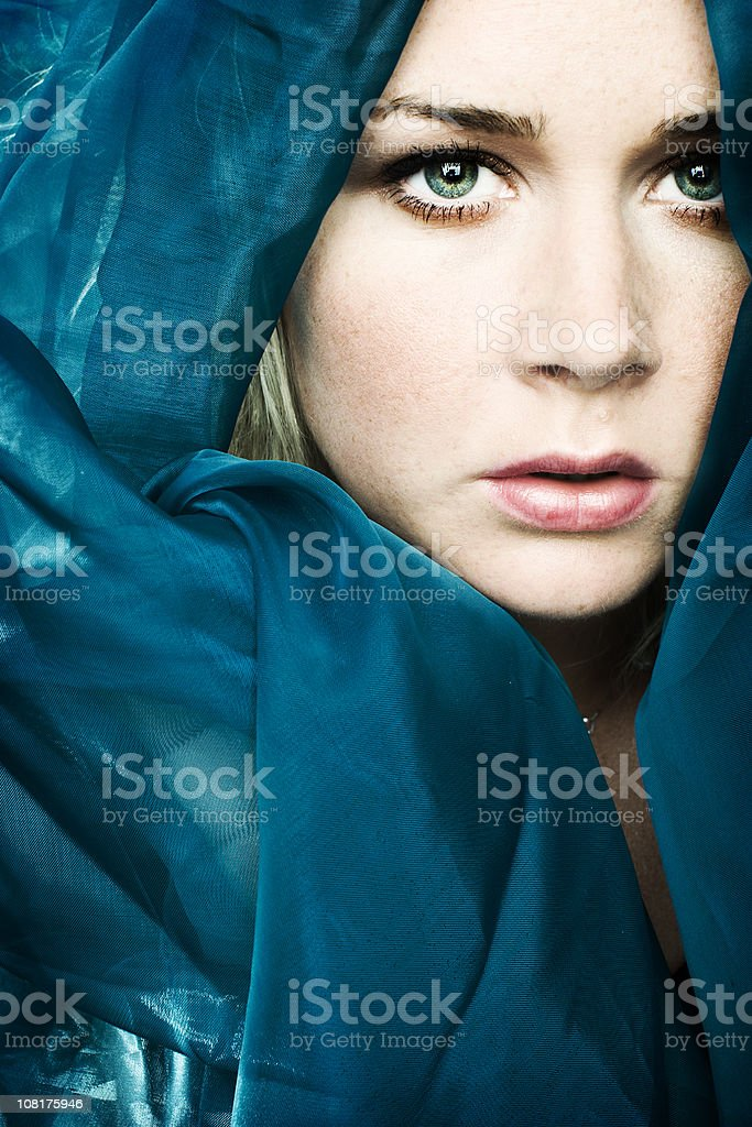 Young Woman Wrapped in Fabric royalty-free stock photo