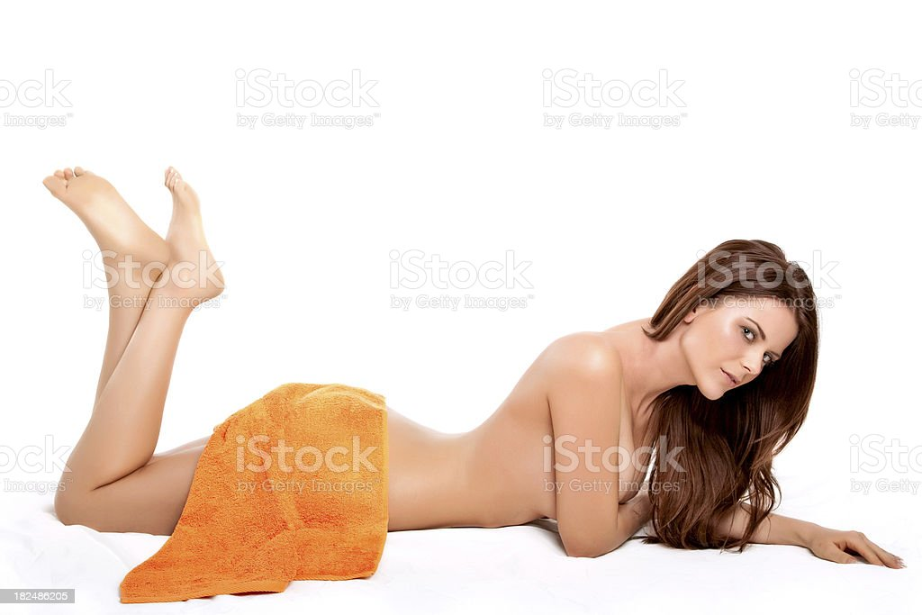 Young Woman Wrapped in Towel royalty-free stock photo