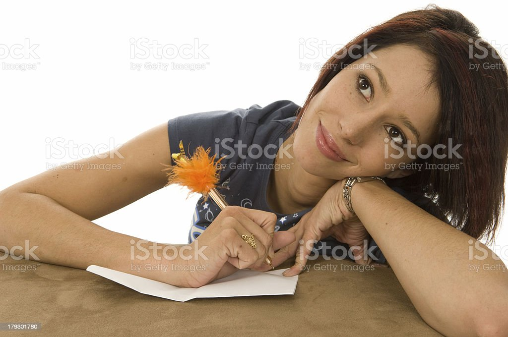 Young Woman Writing a Letter royalty-free stock photo