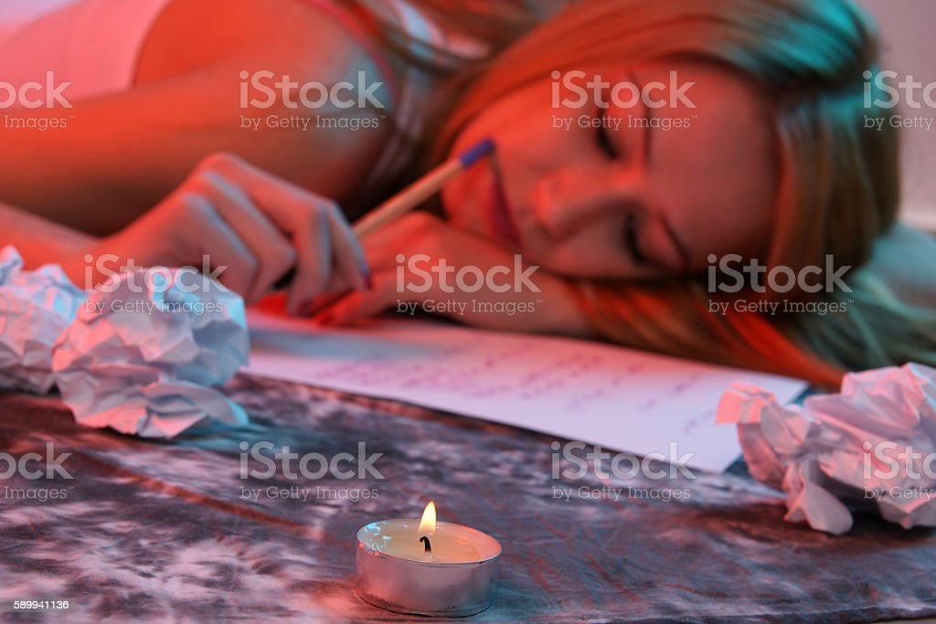 young woman writing message stock photo