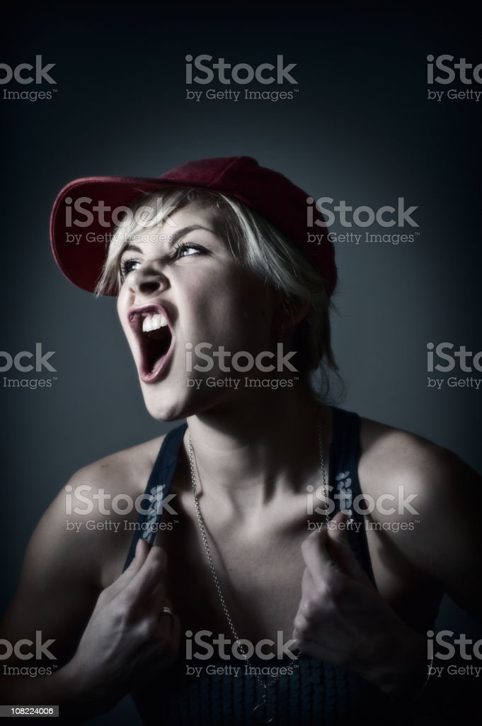 Young Woman Yelling royalty-free stock photo