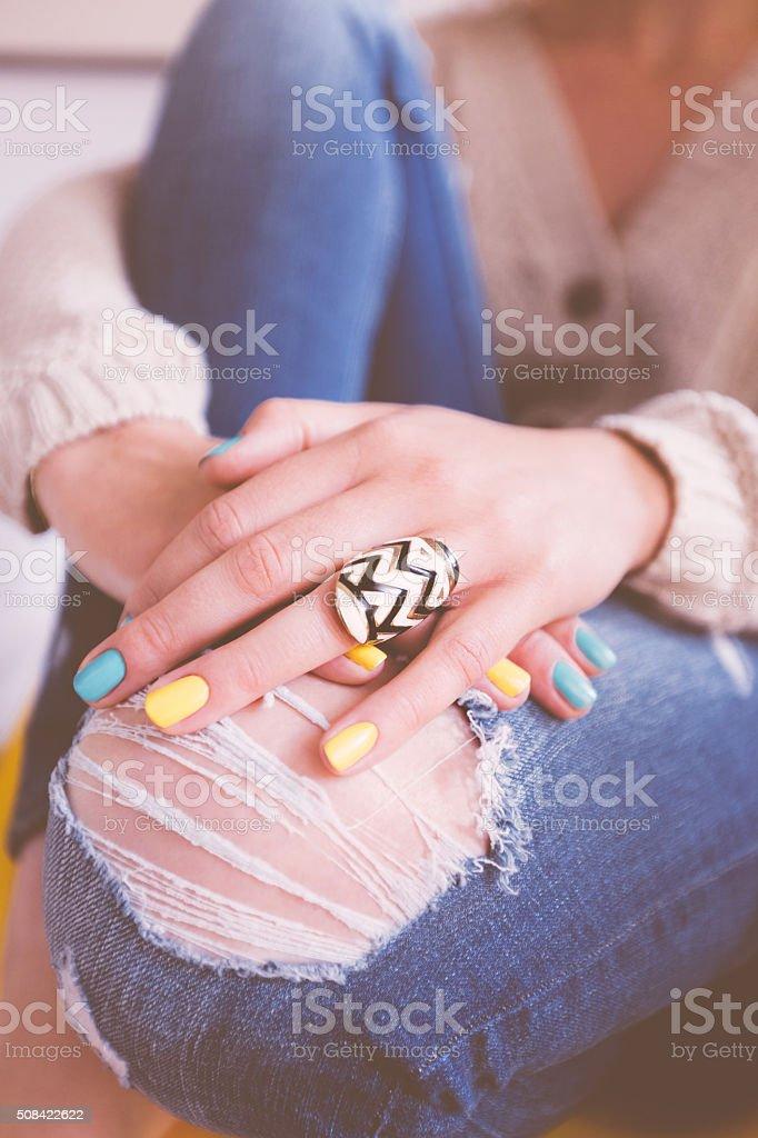 Young woman's beautiful palms stock photo