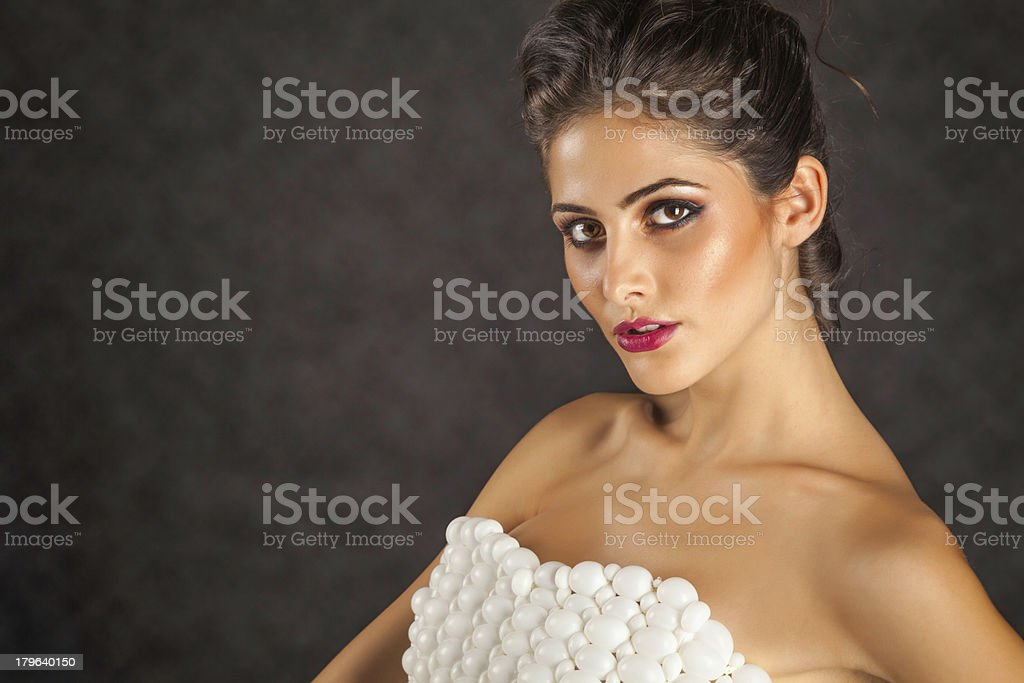 Young woman's portrait in balloon dress royalty-free stock photo