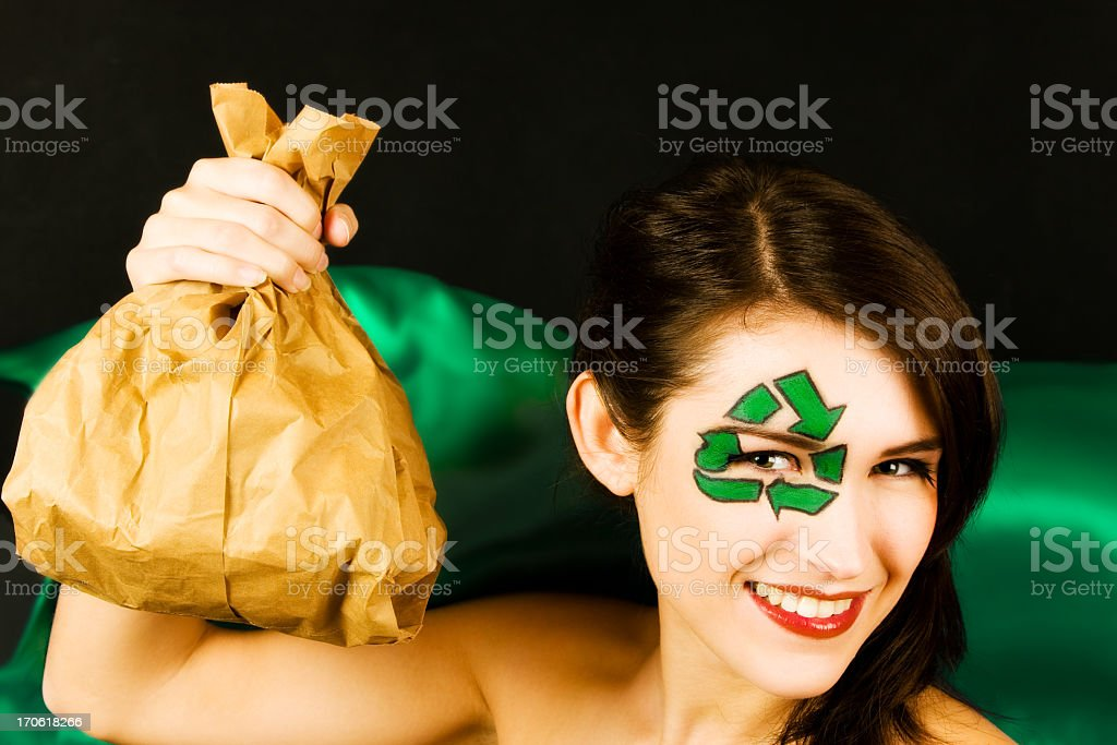 young woman's portrait representing recycling stock photo