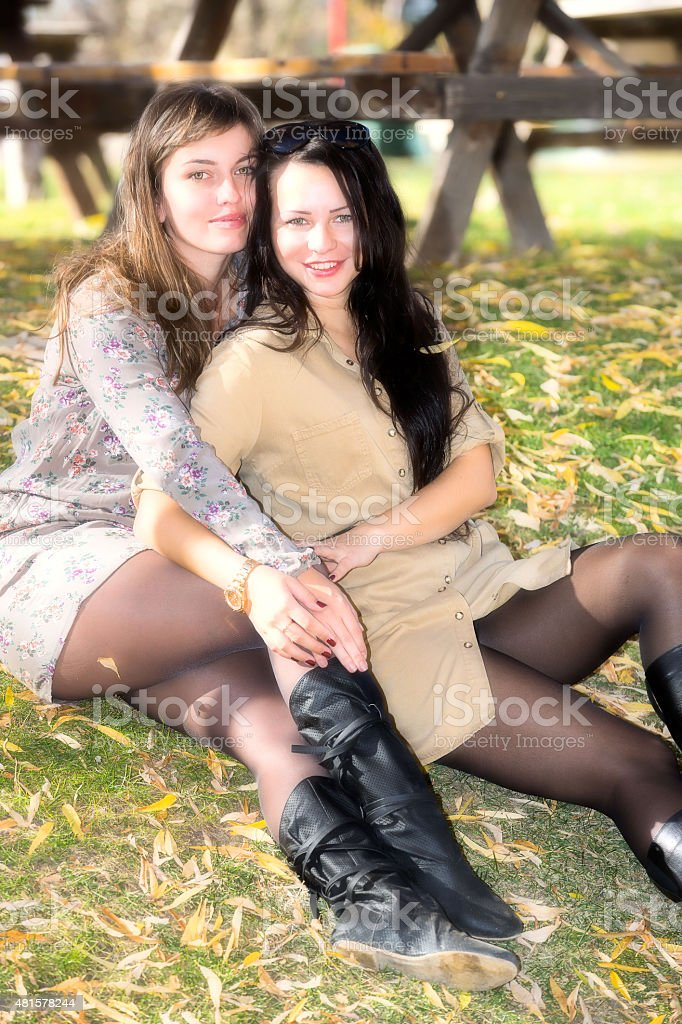 Young Women and Beautiful Autumn stock photo