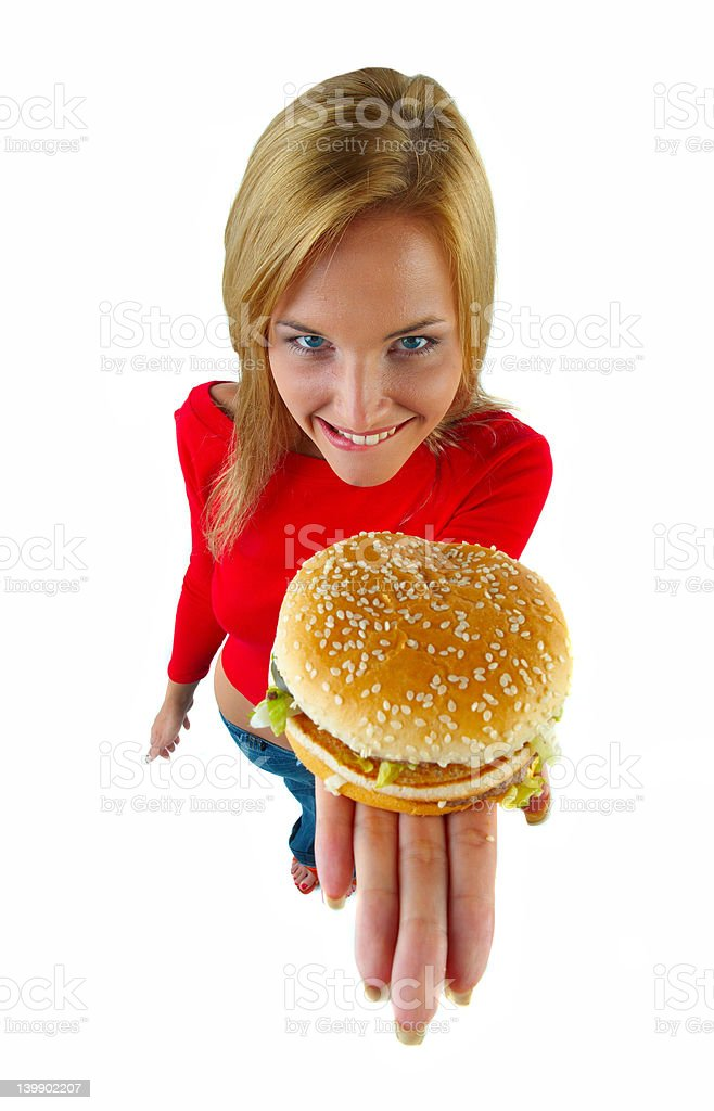 young women and burger royalty-free stock photo