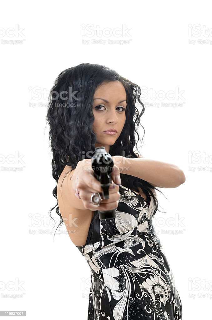 young women and gun stock photo