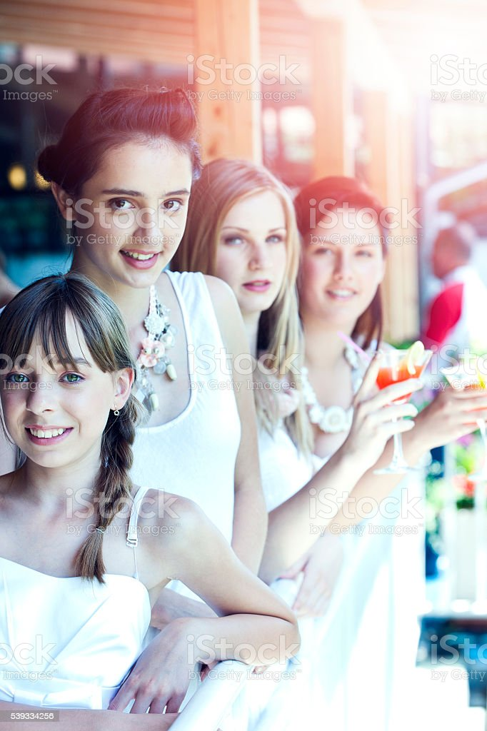 Young Women at Cocktail Party stock photo