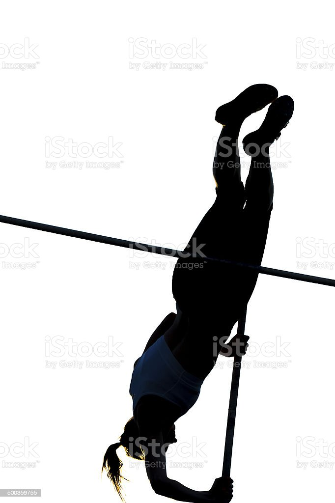 Young Women at Pole Vault competition, Silhouette stock photo
