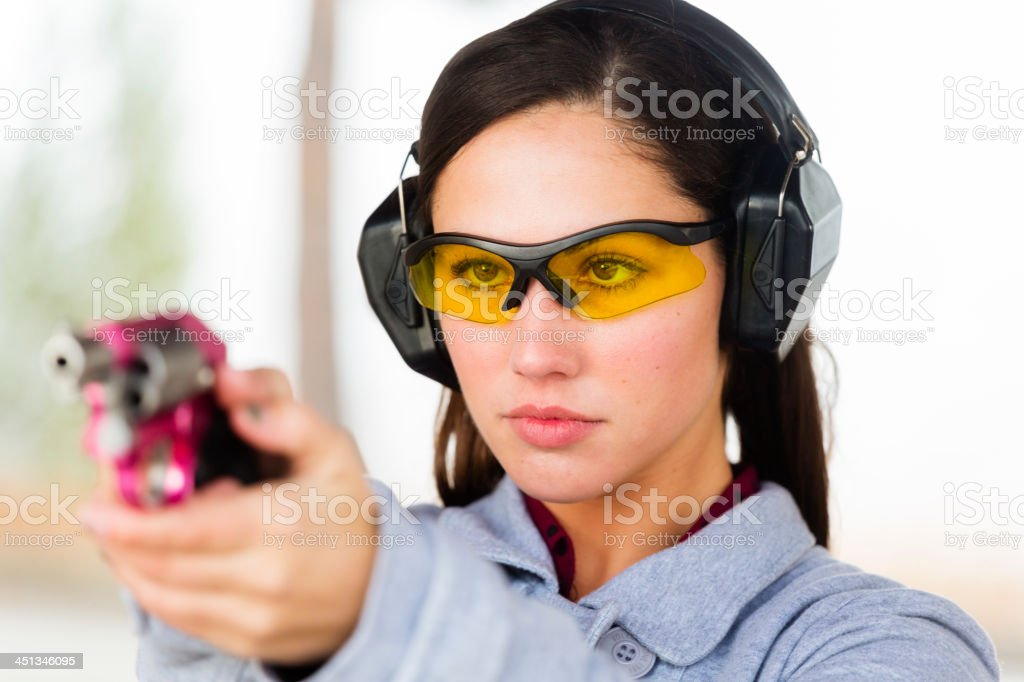 Young Women at the Shooting Range stock photo