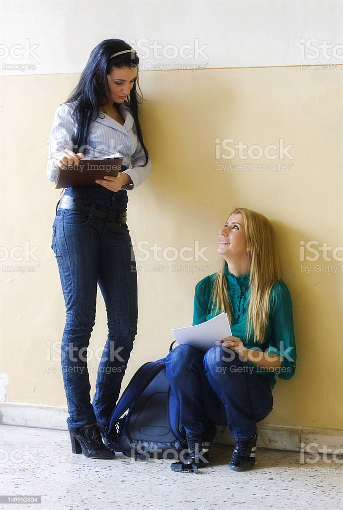 Young women chatting stock photo