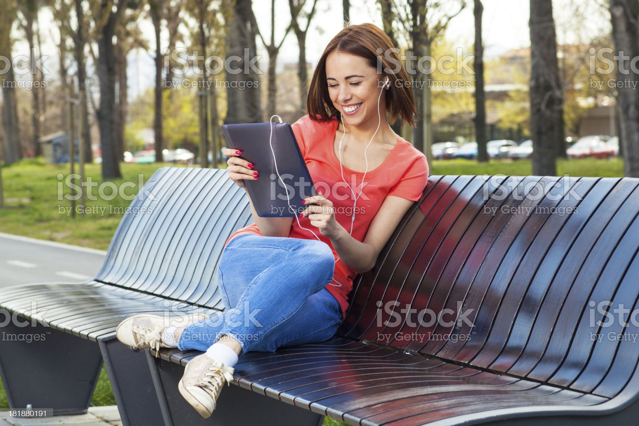 Young women chatting via tablet PC royalty-free stock photo