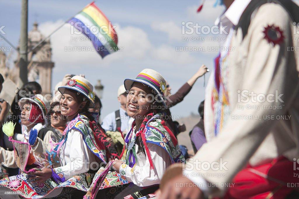 Young Women Dancing during Cusco Parade stock photo