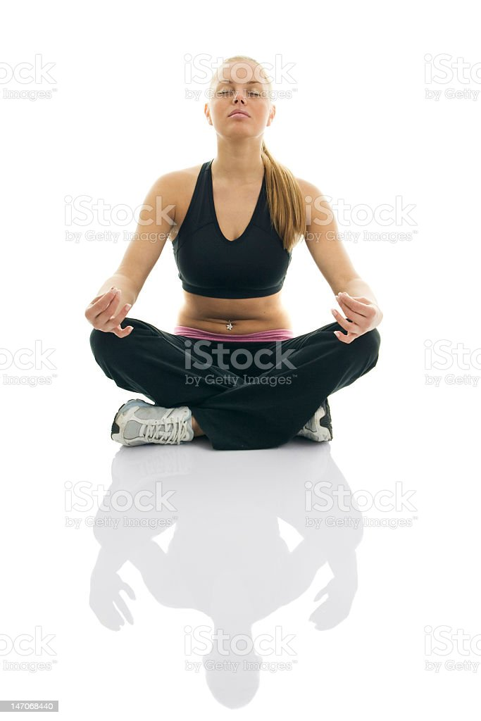 Young women doing minute meditation stock photo