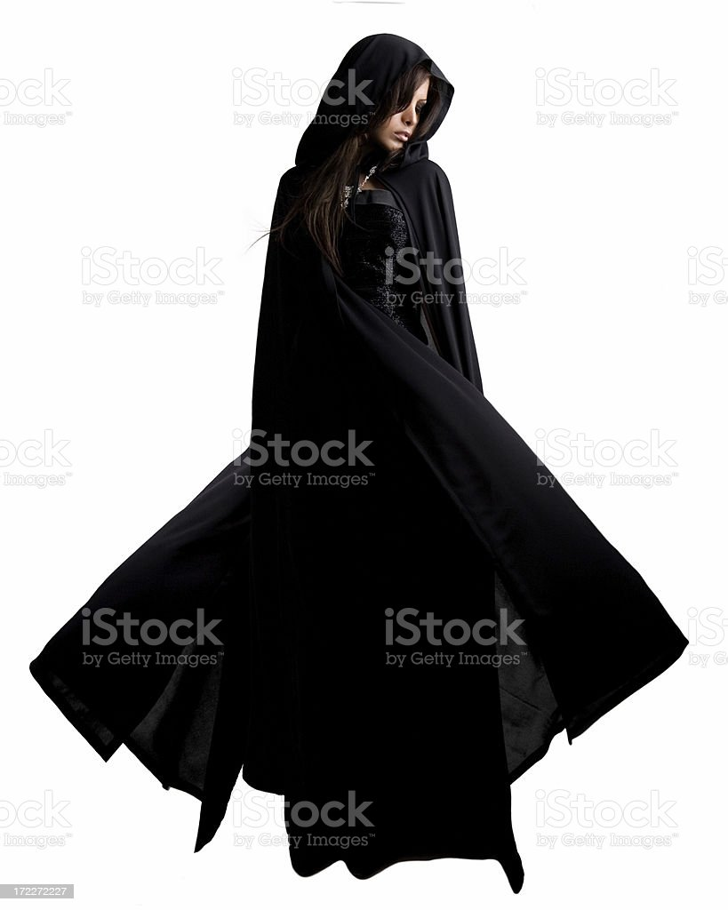 A young women dressed in a banshee on a white background royalty-free stock photo