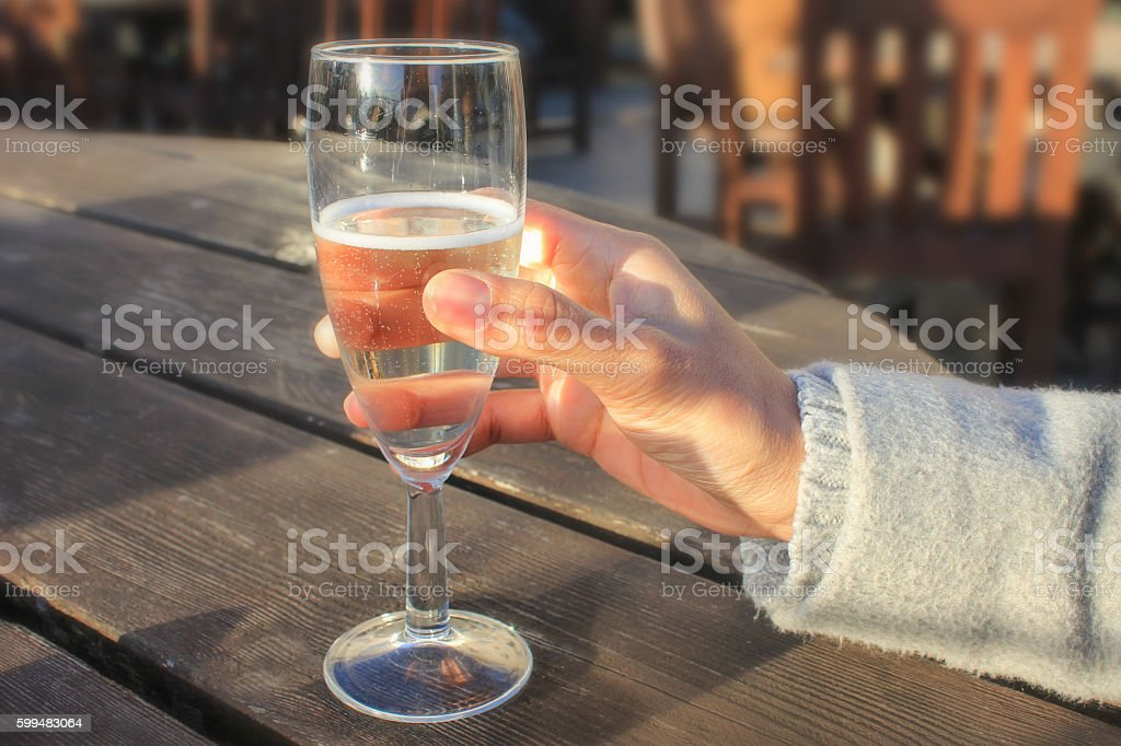 Young women drinking champagne stock photo