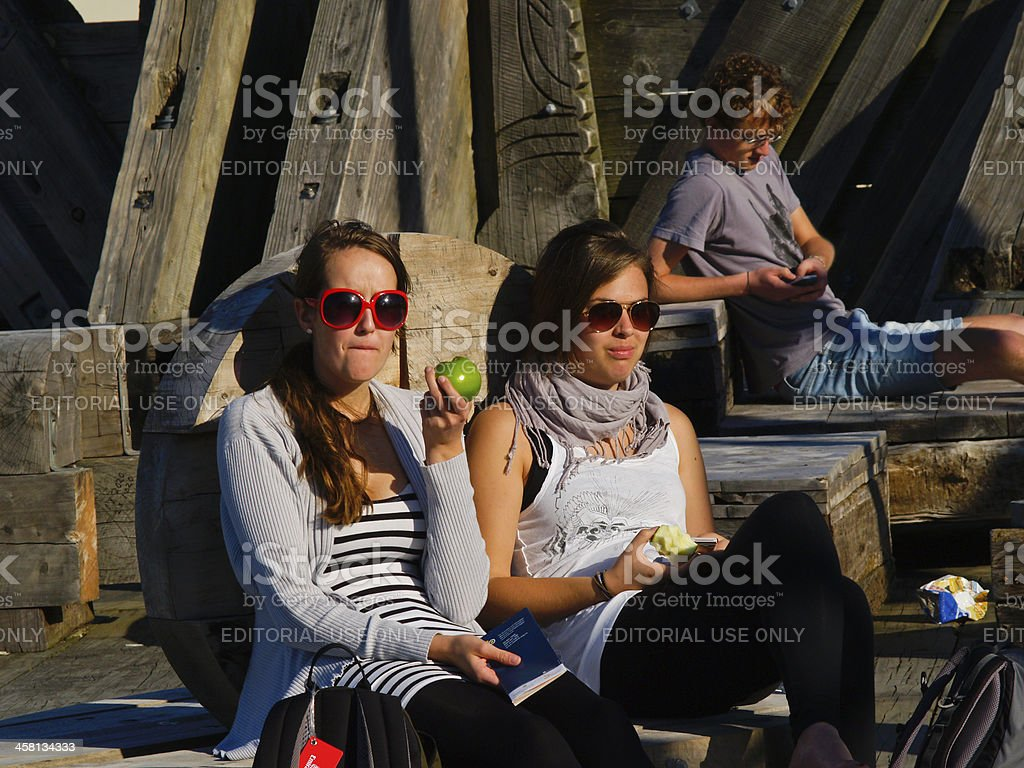 Young women enjoying outdoors on spring day in Wellington. royalty-free stock photo
