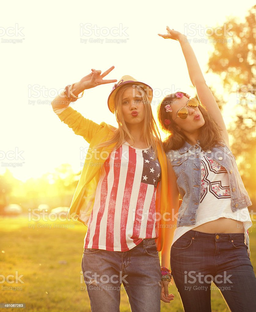Young women enjoying outdoors. royalty-free stock photo