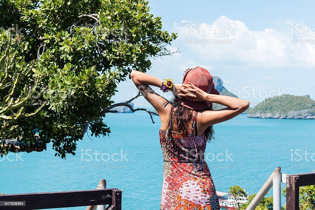 Young women enjoying the freedom stock photo