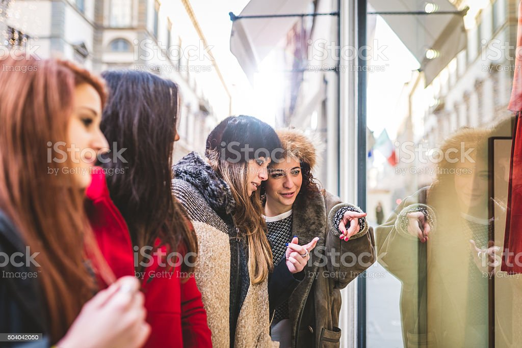 Young Women Friends Having Shopping Together stock photo