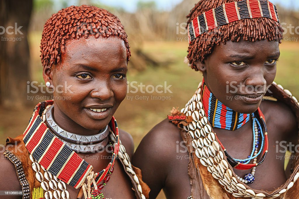Young women from Hamer tribe, Ethiopia, Africa stock photo