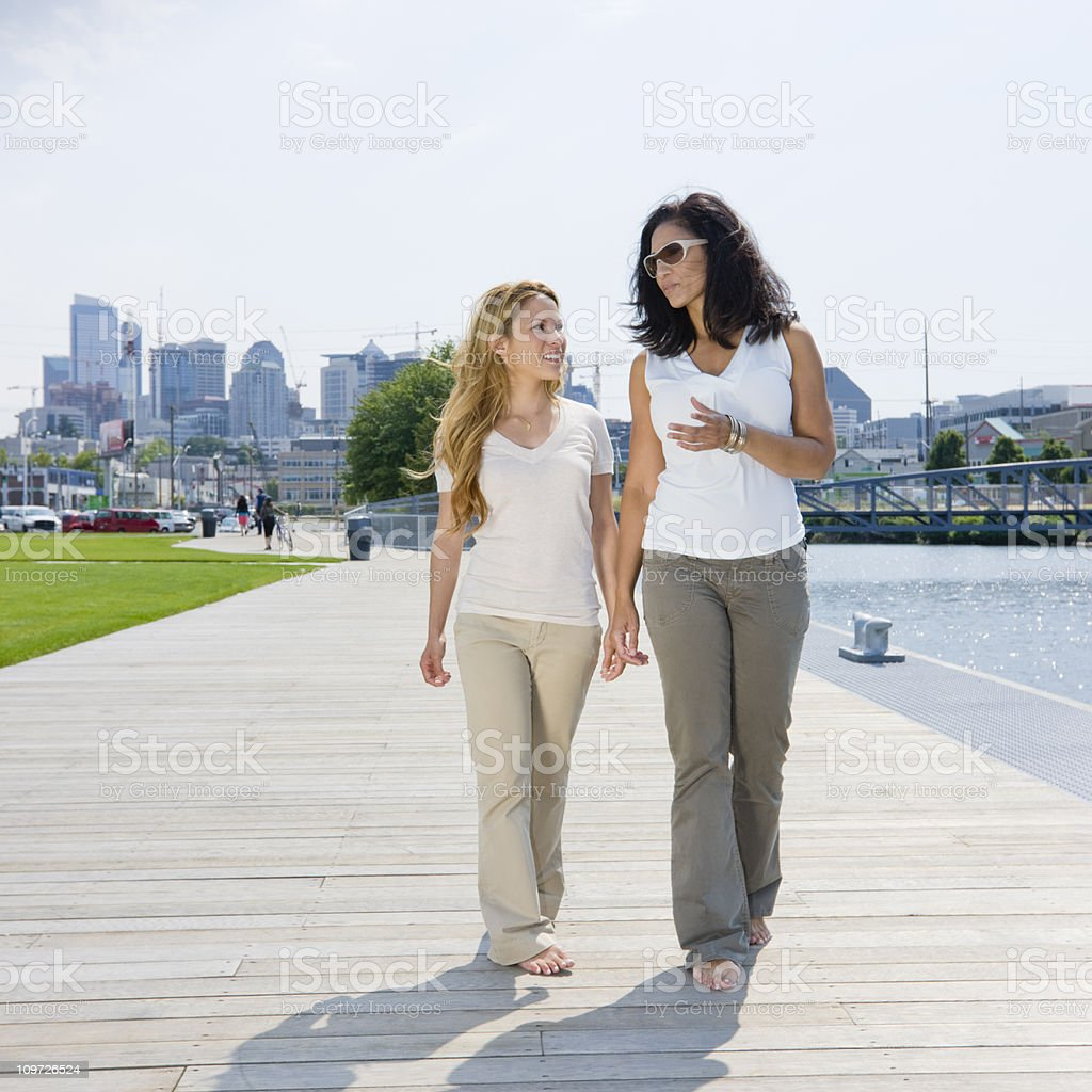 Young women going for a walk royalty-free stock photo