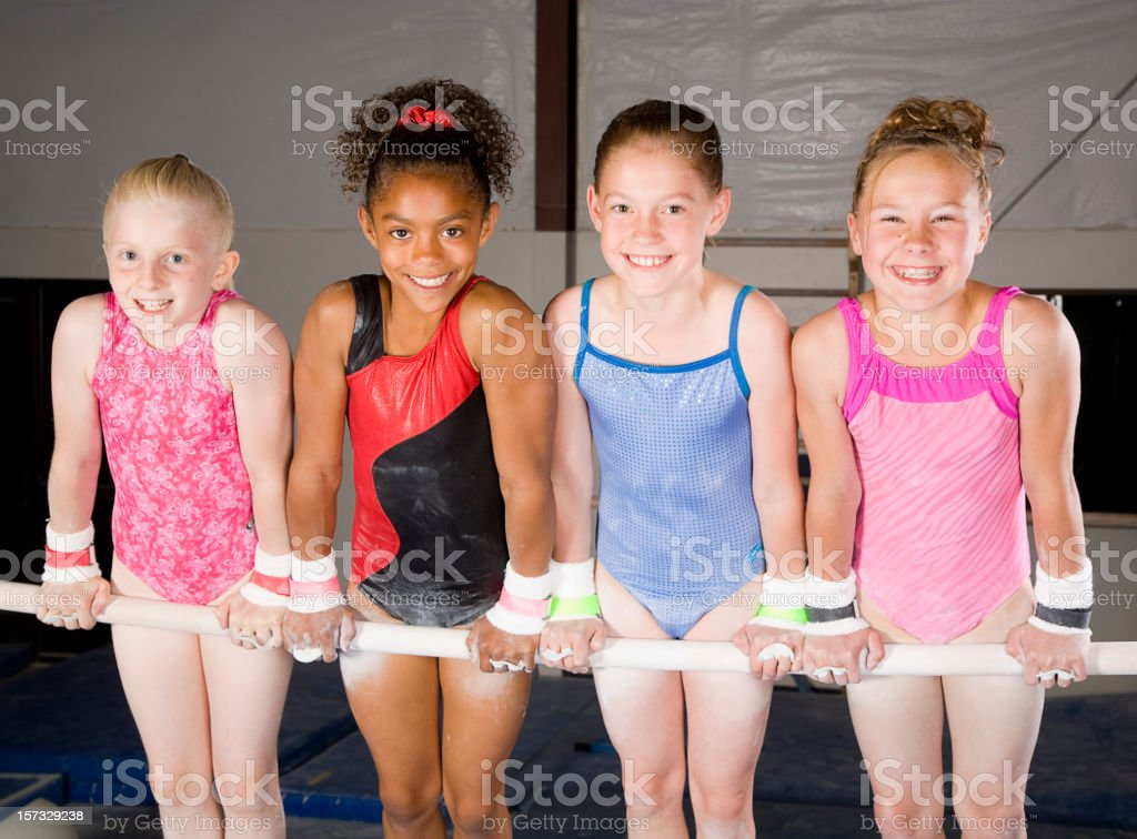 Young Women Gymnasts in a Gym stock photo