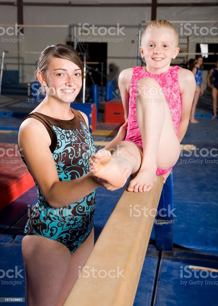 Young Women Gymnasts in a Gym royalty-free stock photo
