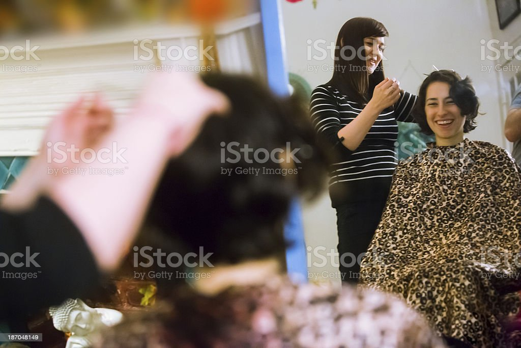 Young Women Hair Cut royalty-free stock photo