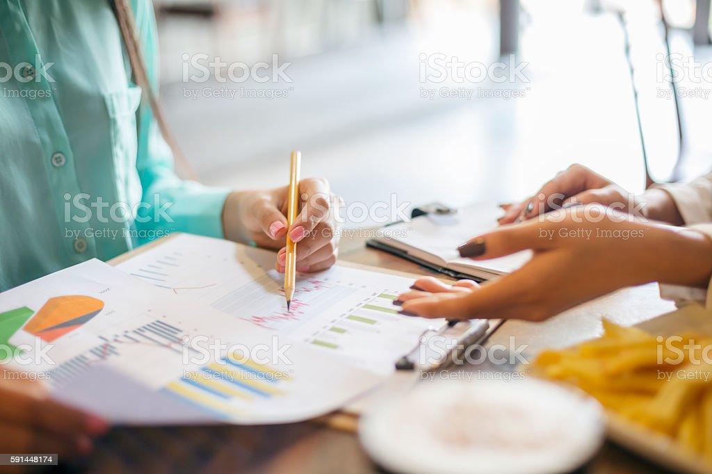 young women having a meeting stock photo
