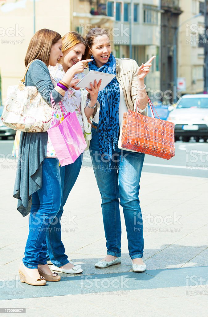 Young Women Having Fun With Digital Tablet royalty-free stock photo