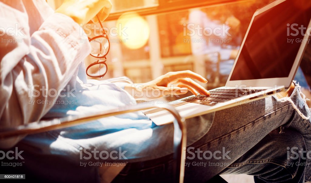 Young Women Hipster Making Great Business Solution.Social Marketing Professional stock photo