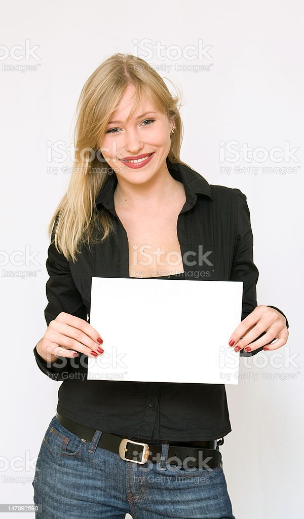 young women holding blank paper royalty-free stock photo