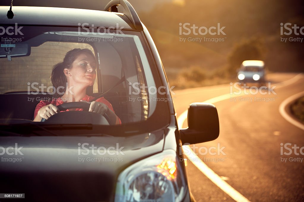Young women in a car stock photo