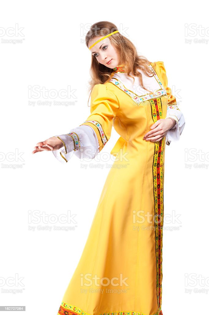 Young women in a traditional national costume. royalty-free stock photo