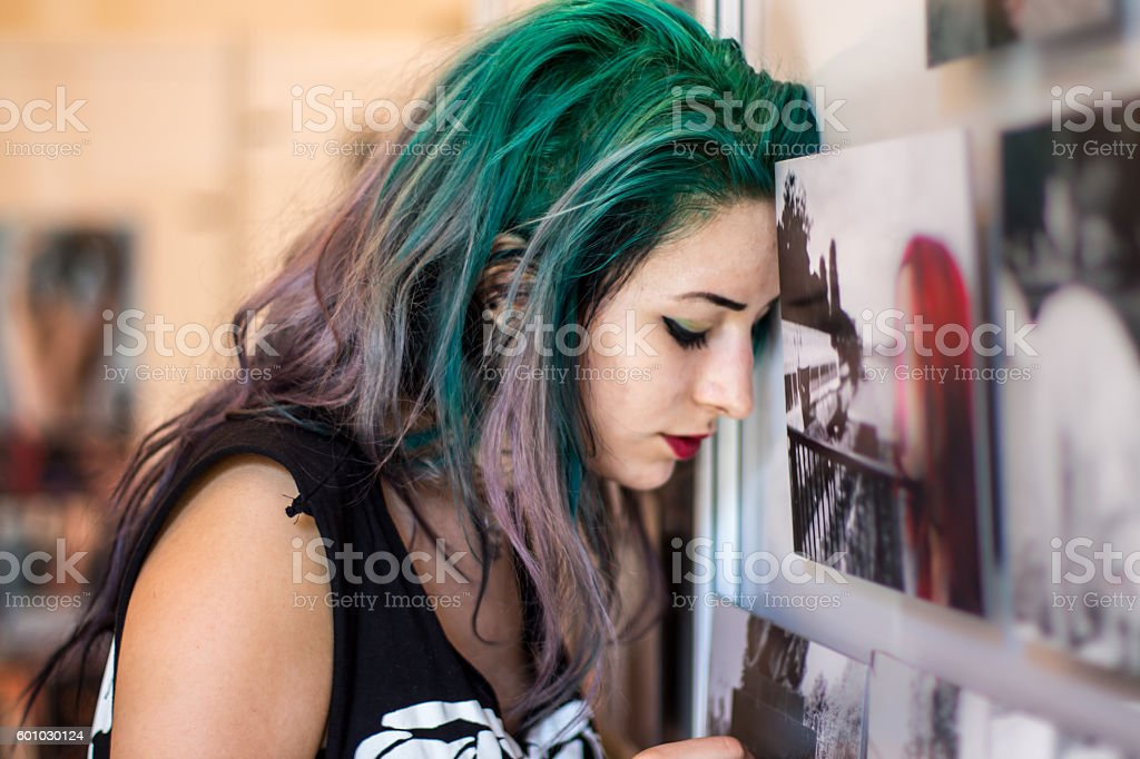 Young women in gallery stock photo
