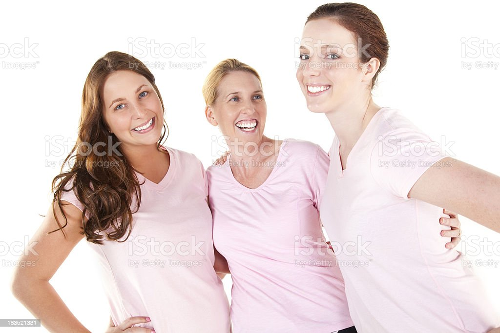 Young Women in Pink Close Together royalty-free stock photo