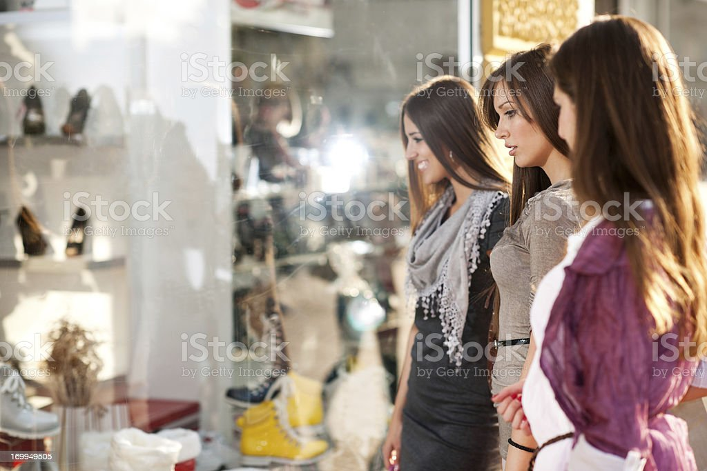 Young women in shopping mall. royalty-free stock photo